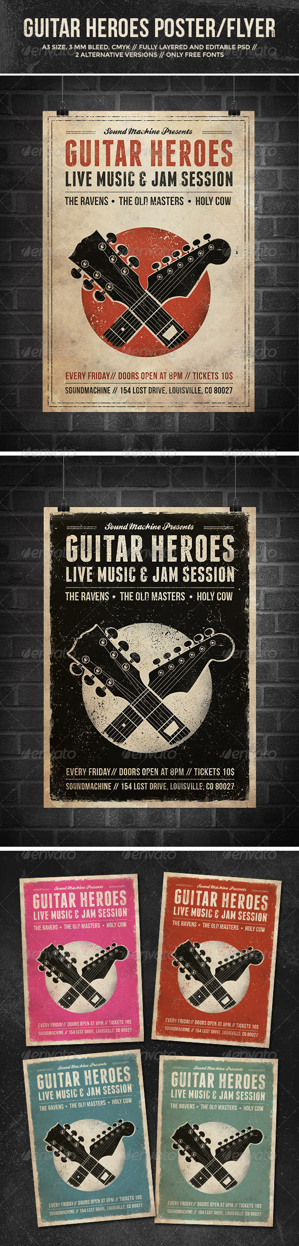 GraphicRiver Guitar Heroes Vintage Music Poster Flyer 7228925