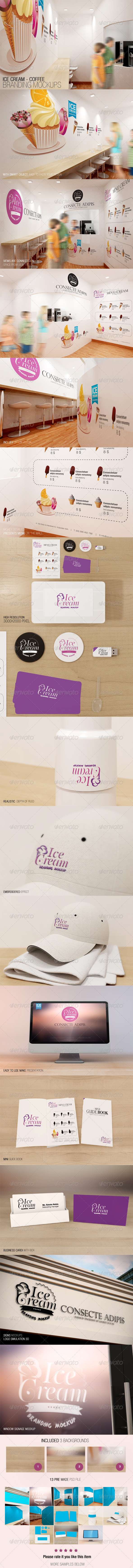 GraphicRiver Ice Cream Coffee Branding Mockups 7228959