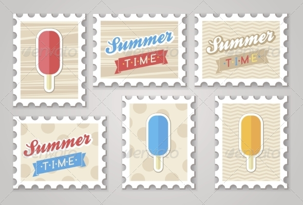 GraphicRiver Summer Stamps of Ice Cream 7229081