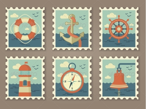 GraphicRiver Retro Marine Stamps 7229090
