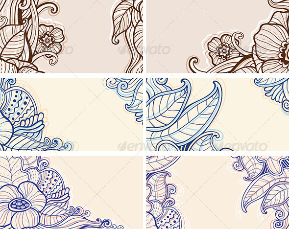 GraphicRiver Abstract Hand Drawn Floral Cards 7229219