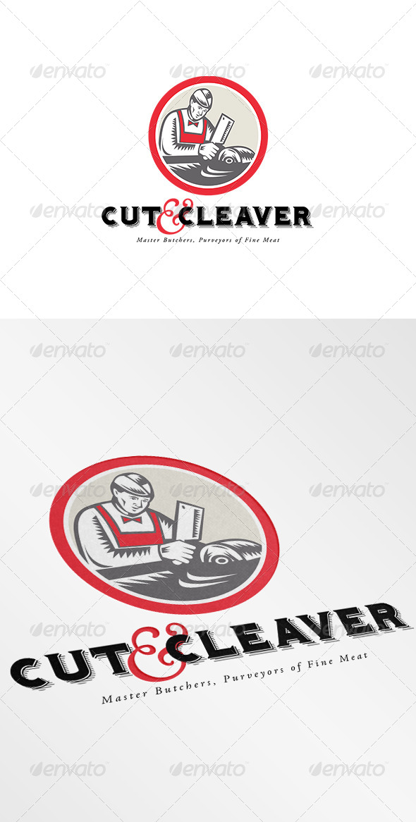 GraphicRiver Cut and Cleaver Master Butcher Logo 7229234