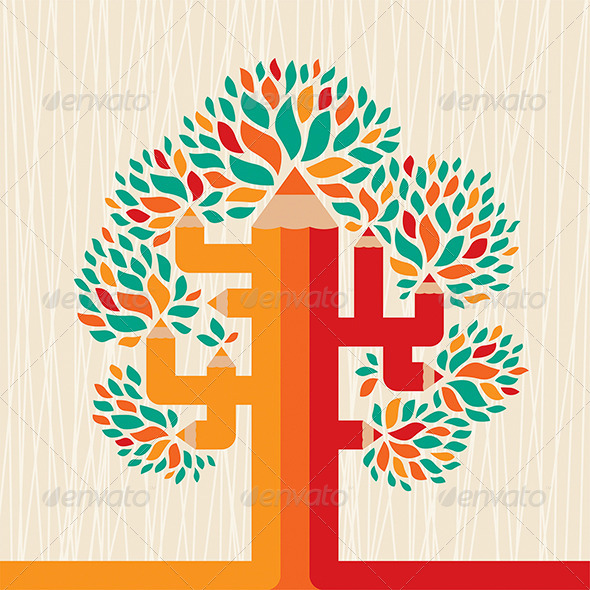 GraphicRiver Abstract Pencil Tree 7229237