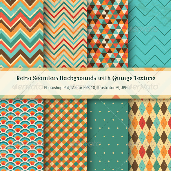 GraphicRiver Vintage Seamless Backgrounds with Grunge Texture 7229285