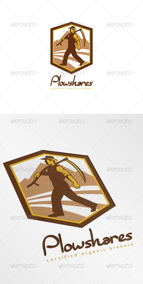 GraphicRiver Plowshares Certified Organic Produce Logo 7229322