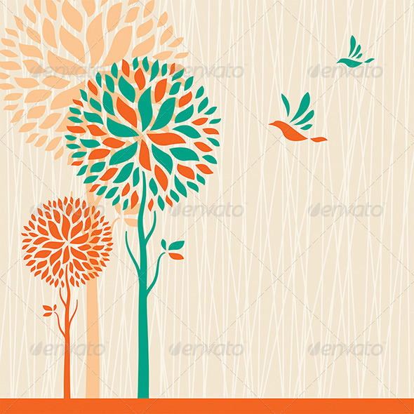 GraphicRiver Abstract Trees Background 7229341