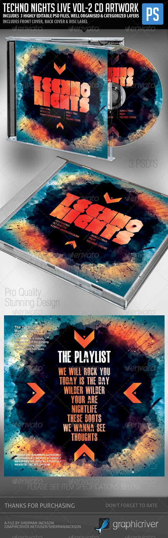 GraphicRiver Techno Nights Live Vol.2 CD Album Artwork 7229432