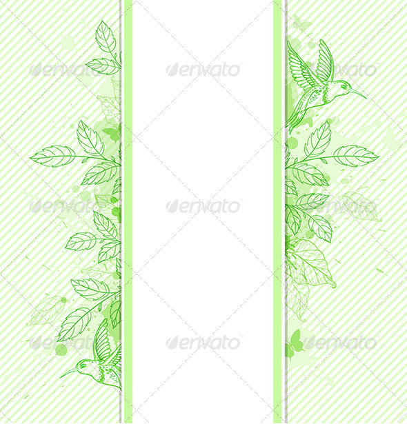 GraphicRiver Green Banner with Leaves and Bird 7229588