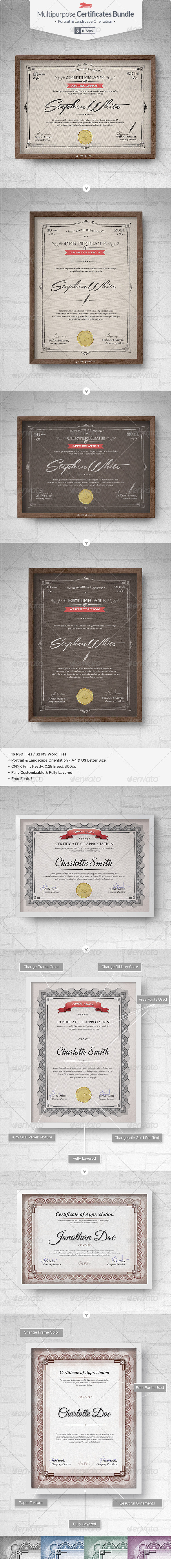 GraphicRiver Multipurpose Certificates Bundle 7230729
