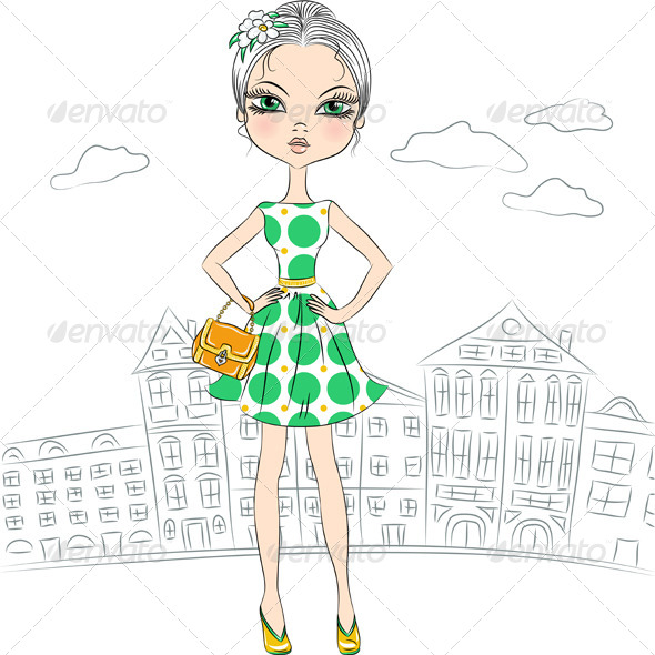 GraphicRiver Fashion Girl Top Model in the City 7231024