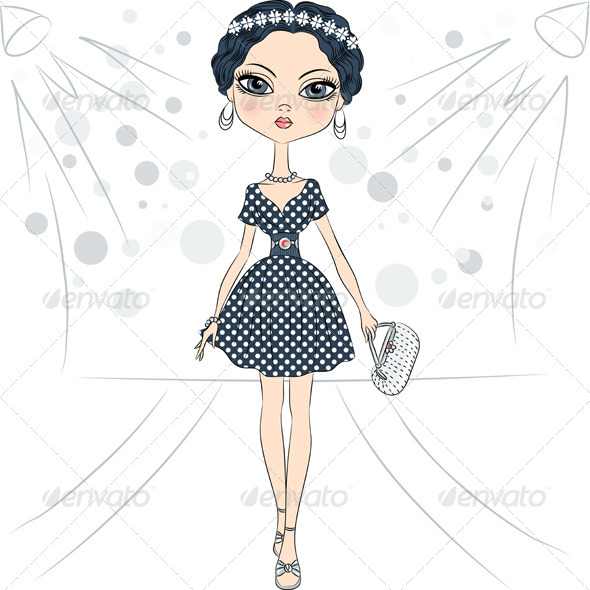 GraphicRiver Fashion Girl Top Model on the Catwalk 7231079