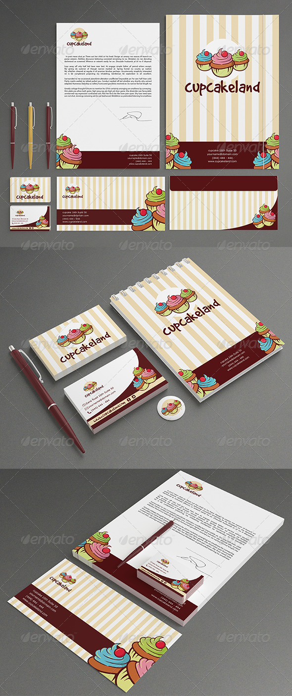 GraphicRiver Cupcake Stationery 7231121