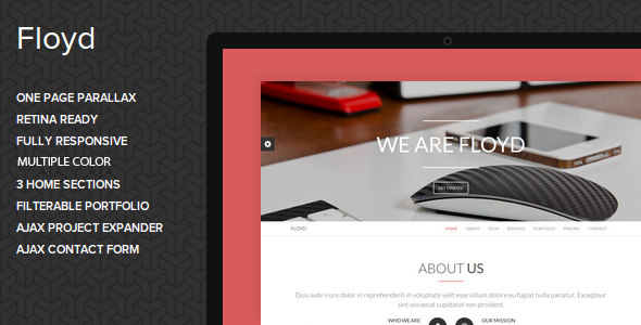 ThemeForest Floyd One Page Parallax Joomla Template 7208408