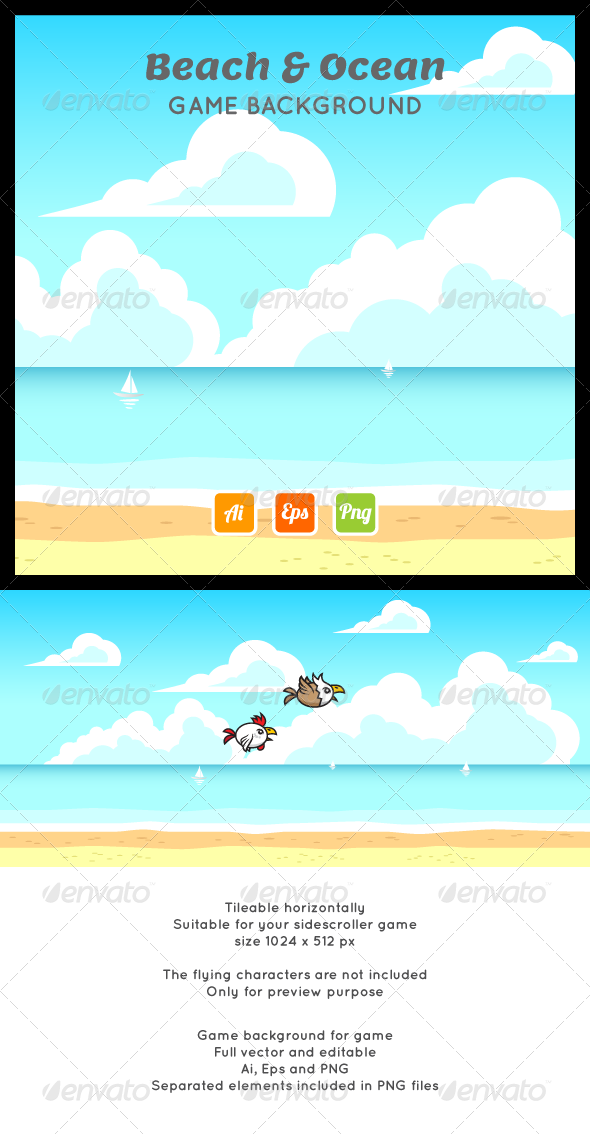 GraphicRiver Beach Ocean Game Background 7231489