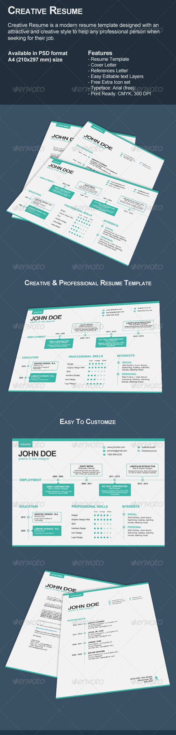 GraphicRiver 3-Piece Creative Resume Set 7231660