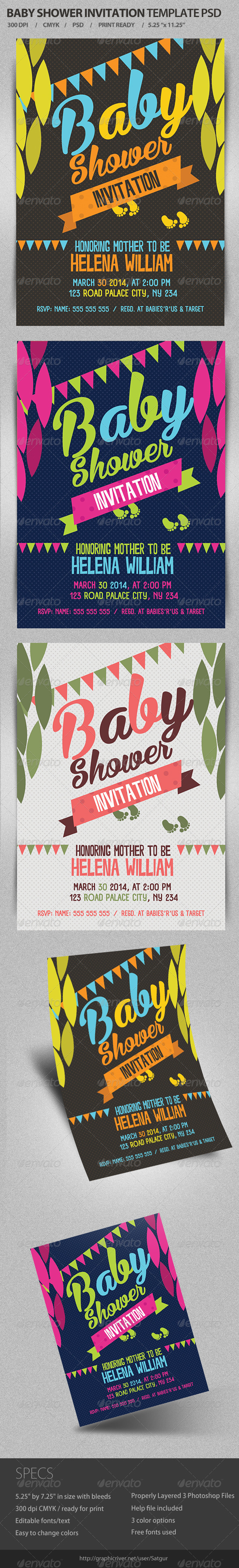 GraphicRiver Baby Shower Invitation Template PSD 7231943