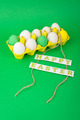 Colorful Easter eggs in yellow carton on green background - PhotoDune Item for Sale
