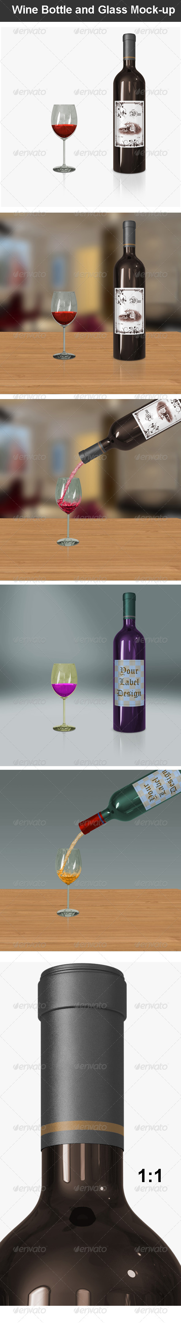 GraphicRiver Wine Bottle and Glass Mock-up 7232479