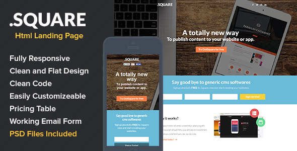 ThemeForest DotSquare HTML Landing Page 7232764