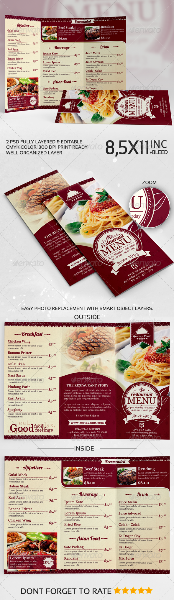 GraphicRiver Elegant TriFold Restaurant Menu Template 7208416