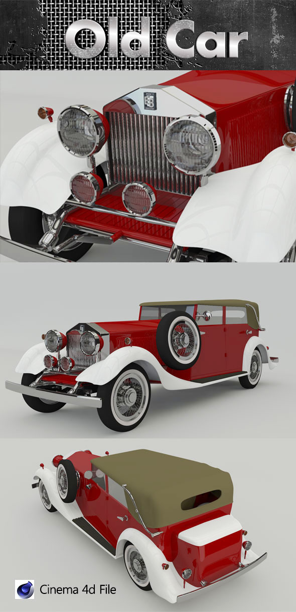 3DOcean Old Luxury Car 3D Model 7233405