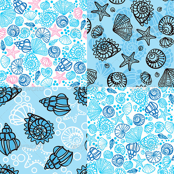 GraphicRiver Set of four seamless patterns with seashells 7202396