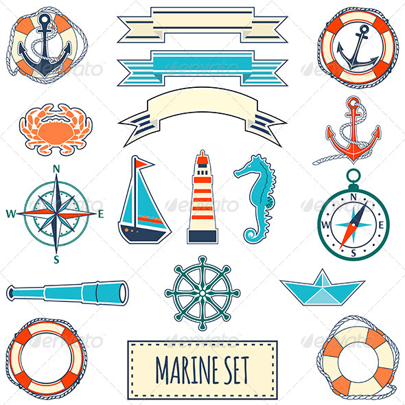 GraphicRiver Set of Flat Marine Elements 7201636