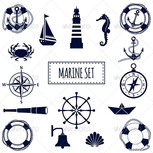 GraphicRiver Set of Flat Marine Icons 7201634