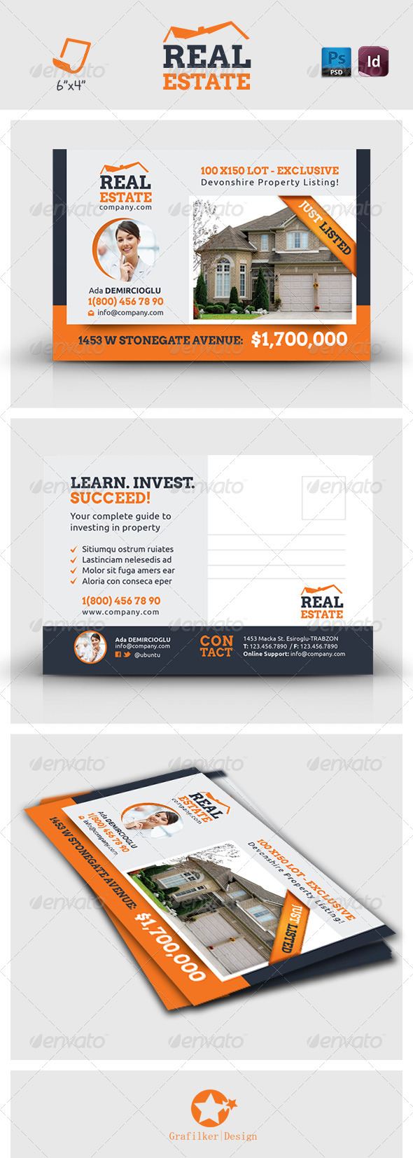 GraphicRiver Real Estate Postcard Templates 7233861