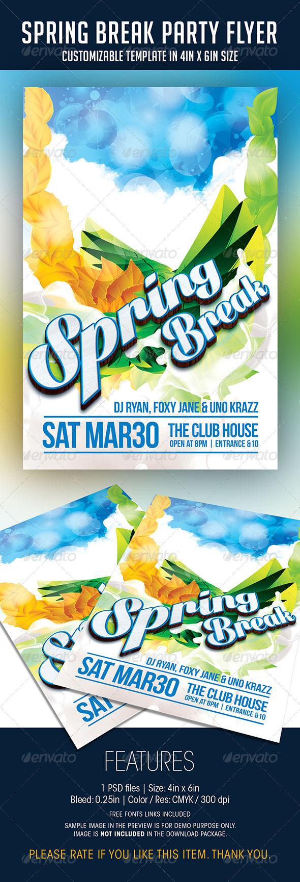 GraphicRiver Spring Break Party Flyer 7233972