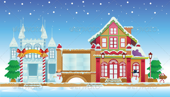 Graphic River Santa Claus House and Ice Castle Vectors -  Objects  Buildings 757793