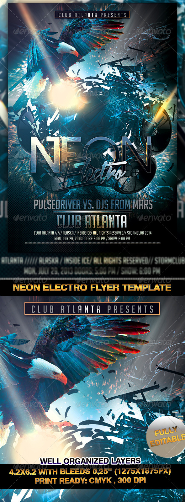 GraphicRiver Neon Electro Flyer Template 7235164