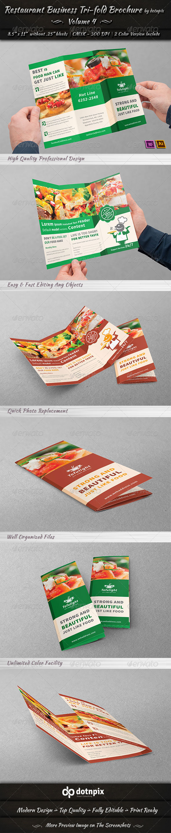 GraphicRiver Restaurant Business Tri-Fold Brochure Volume 4 7235198
