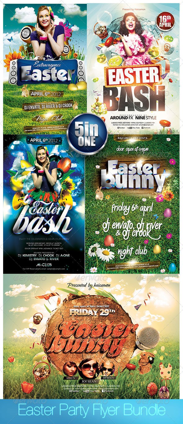 GraphicRiver Easter Party Flyer Bundle 7235913