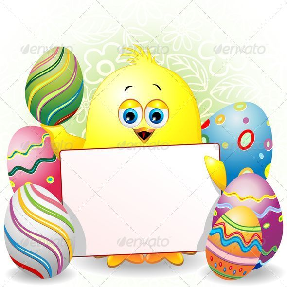 GraphicRiver Easter Chick Cartoon with White Panel 7235976