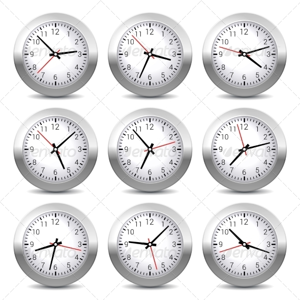 GraphicRiver Wall Clock Set on White Background Vector 7236001