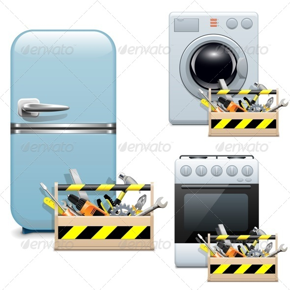GraphicRiver Vector Household Appliance Repair Icons 7236138