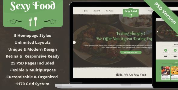 ThemeForest Sexy Food Food & Restaurant PSD Template 7205036
