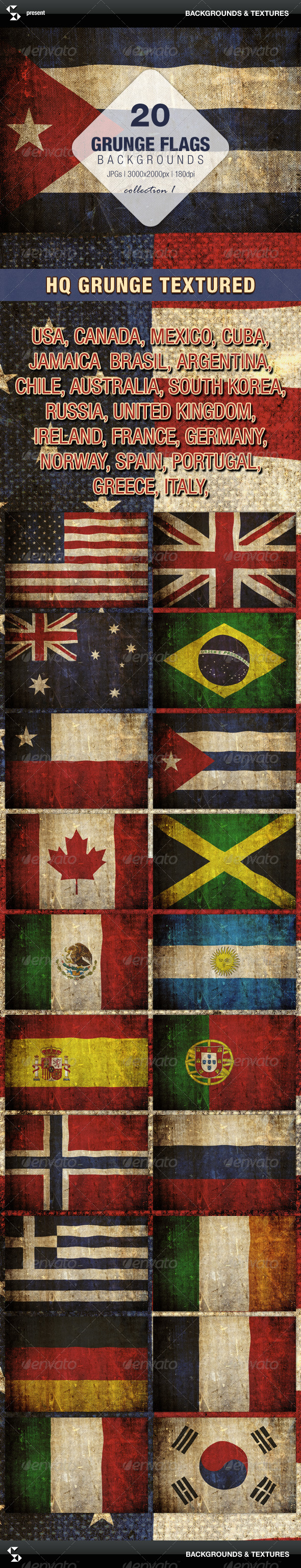 GraphicRiver Grunge Flags 20 countries around the world 7222303
