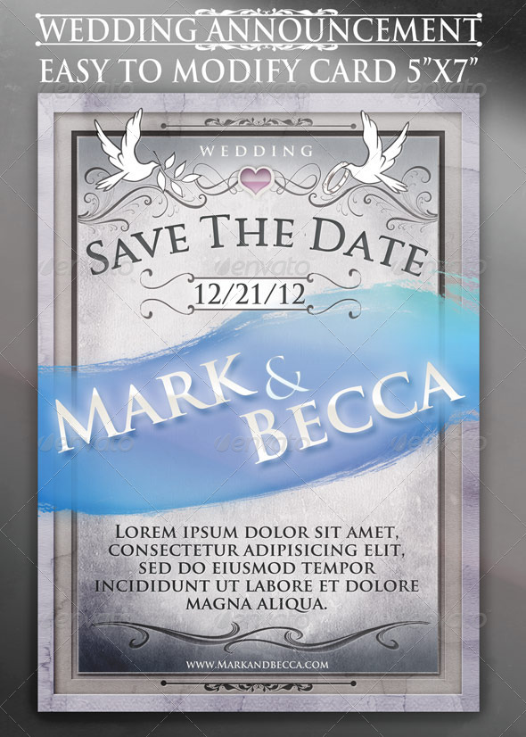 GraphicRiver Wedding Announcement Card Template 757948