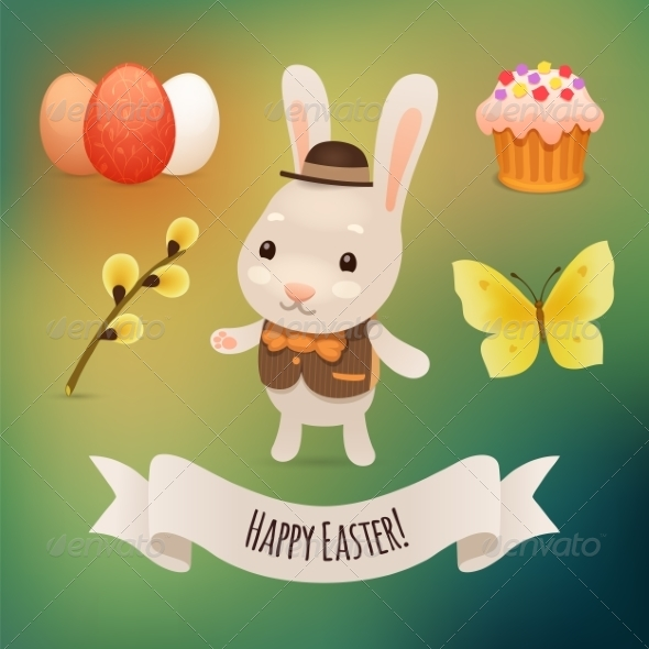 GraphicRiver Bunny and Easter Symbols 7236824