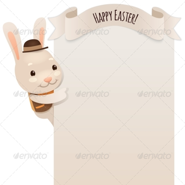 GraphicRiver Happy Easter Bunny Looking at Blank Poster 7236849