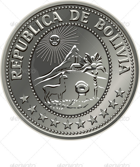 Graphic River Bolivian money silver coin centavo fifty Vectors -  Objects  Man-made objects 757971