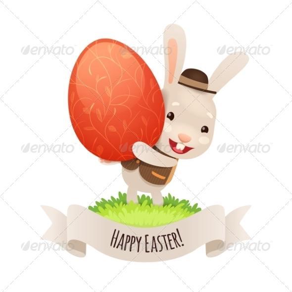 GraphicRiver Happy Easter Bunny With Red Egg 7236887