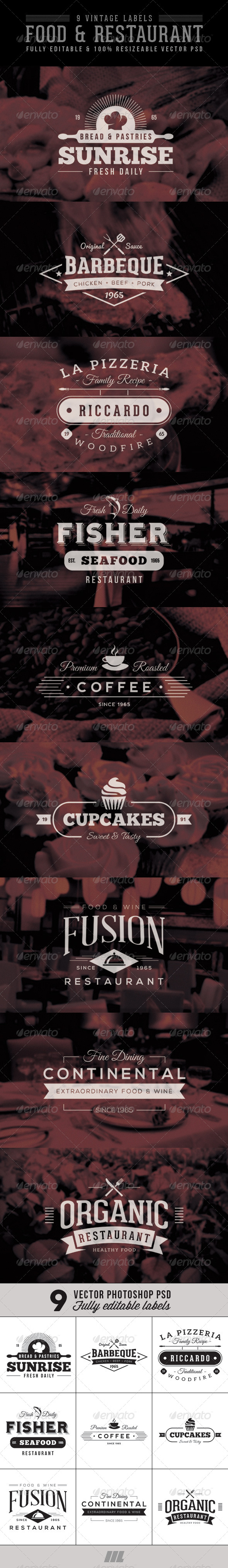 GraphicRiver Vintage Food & Restaurant Labels 7237263