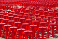 Empty red plastic chairs - PhotoDune Item for Sale