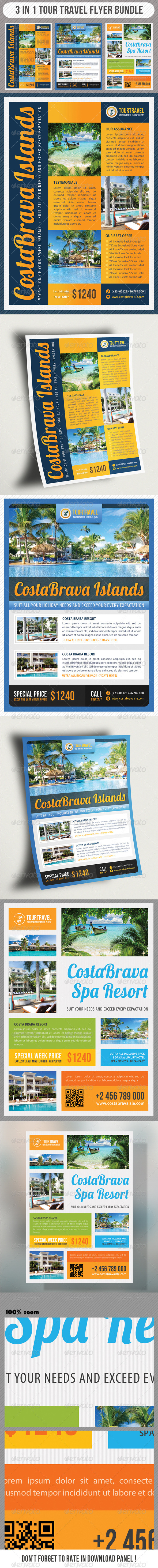 GraphicRiver 3 in 1 Tour Travel Flyer Bundle 02 7238031