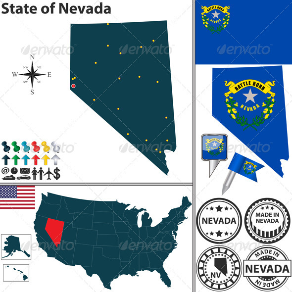 GraphicRiver Map of state Nevada USA 7238146