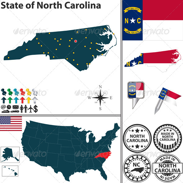 GraphicRiver Map of state North Carolina USA 7238149