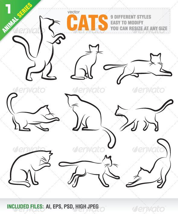 Graphic River Cats Vectors -  Characters  Animals 758120